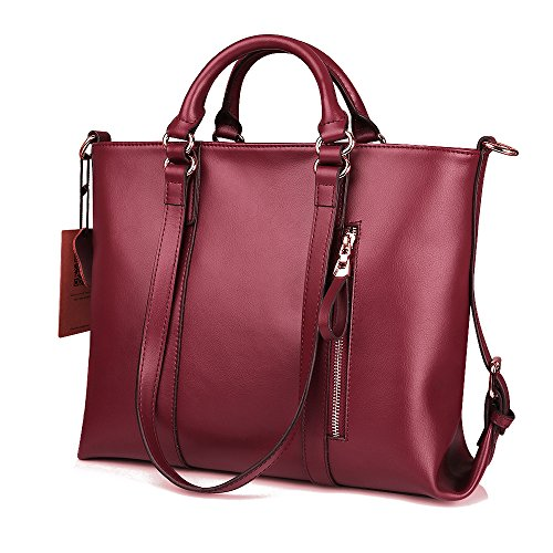 Kattee Urban Style 3-Way Women's Genuine Leather Shoulder Tote Bag (Red)