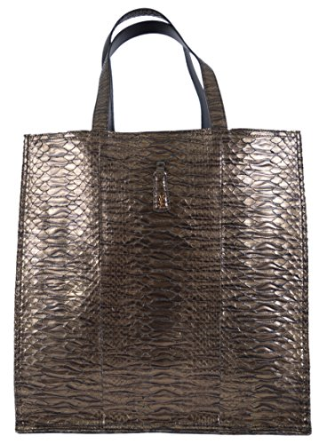 Yves Saint Laurent YSL Women's Metallic Python Walky Purse Tote