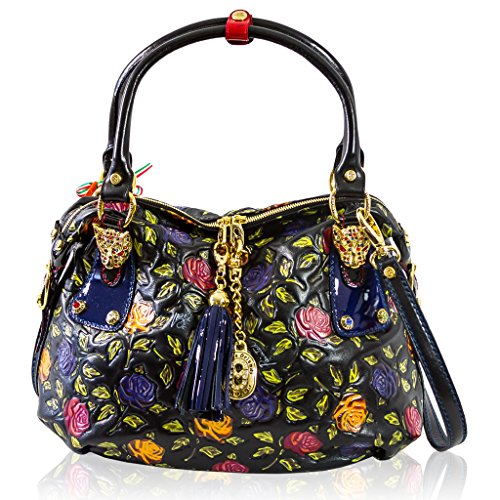 Marino Orlandi Italian Designer Handpainted Blue Roses Satchel Crossbody Bag