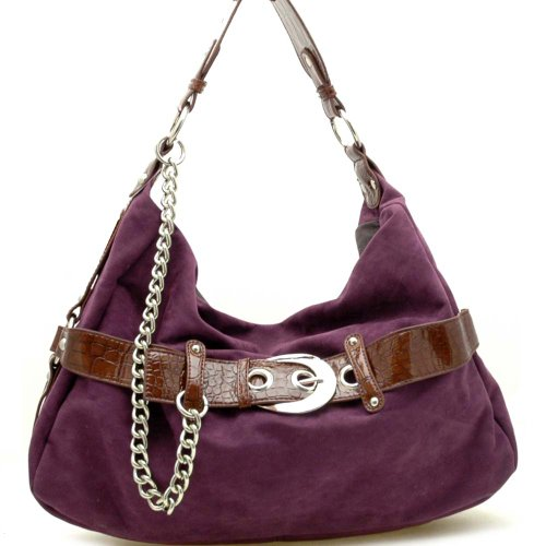 Dasein Women's Faux Suede Belt Front Leather Like Hobo Bag Handbag w/ Chain