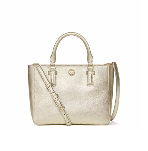 Tory Burch Robinson Metallic Mini Square Soft Gold