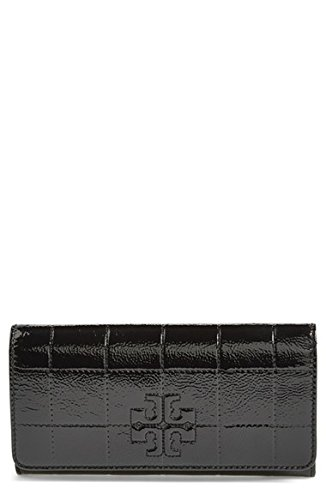 Tory Burch Marion Patent Leather Envelope Wallet Black Handbag Bag