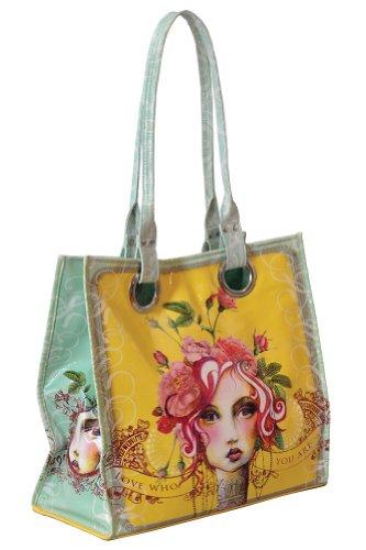 Papaya Art Love Who You Are Rose Victorian Girl Oil Cloth Tote Handbag Purse