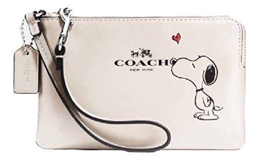 Coach X Peanuts Snoopy Corner Zip Wristlet Calf Leather Chalk F65193