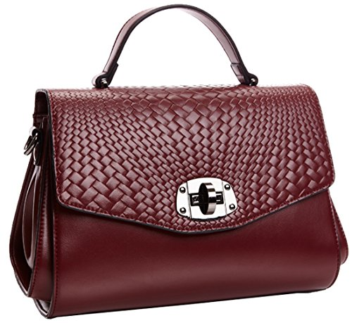 Heshe® New Fashion Lady Woven Pattern Leather Tote Top-handle Purse Shoulder Handbag Cross Body Casual Simple Style Mini Satchel Cell Phone Pocket for Summer