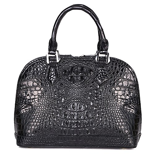 GAVADI Real Crocodile Skin Leather Fashion Designer Purse Handbag Tote Bags Black G1006