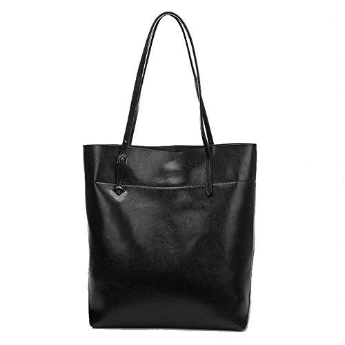 Kattee Genuine Cow Leather Simple Style Tote Shoulder Bag