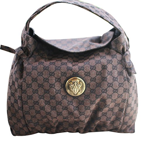 Gucci Brown Canvas Hysteria Handbag Hobo Bag 286307 8370