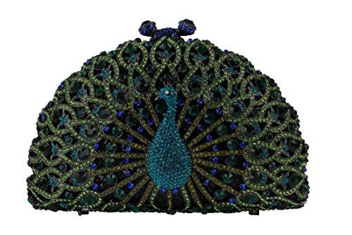 Yilongsheng Luxury Crystal Clutches for Women Peacock Clutch Evening Bag 219 (Green)