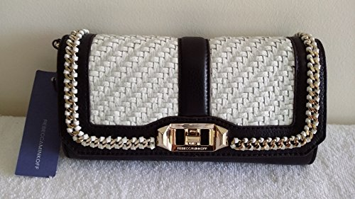 Rebecca Minkoff Woven Mini Love Clutch Black White Leather Bag New