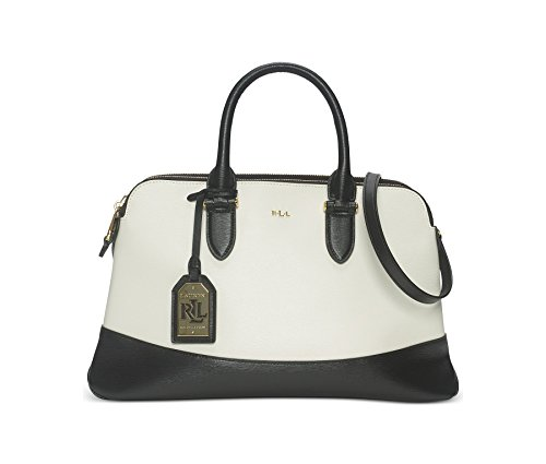 Lauren Ralph Lauren Womens Newbury Spectator Dome Double Zip Satchel Vanilla/Black