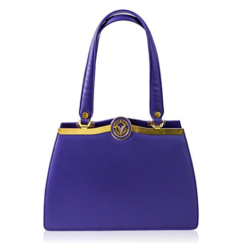 Valentino Orlandi Italian Designer Purple Calfskin Leather Satchel Purse Bag