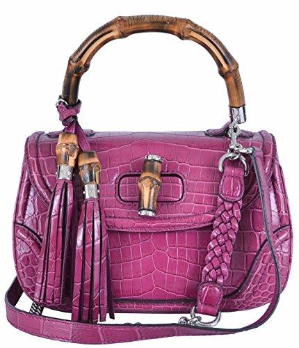 Gucci Women's Small Pink Crocodile Bamboo Convertible Handbag