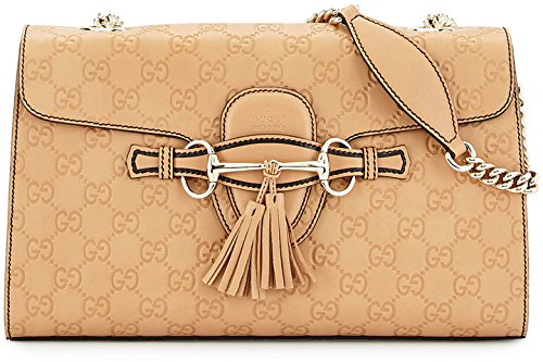 Gucci Emily Guccisima Camelia Brown Camel Leather Gold Shoulder Bag Handbag