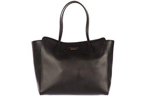Gucci women's leather shoulder bag original swing black
