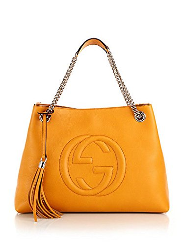 Gucci Soho Leather Shoulder Bag Mustard Golden Leather Handbag