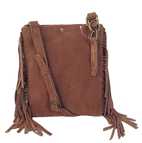 Lucky Brand Ricky Suede Fringe Small Crossbody Bag, Tobacco