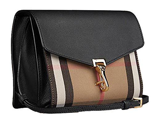 Burberry Small Leather and House Check Crossbody Bag-black