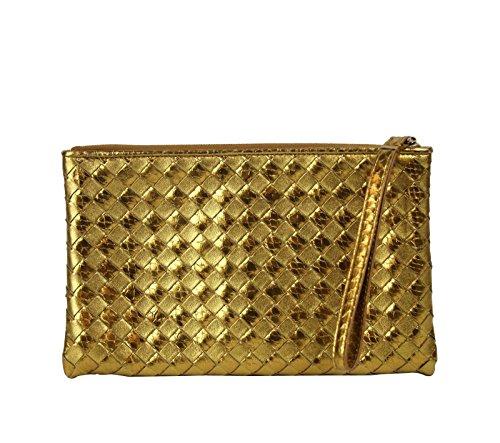 Bottega Veneta Gold Python Leather Wristlet Woven Clutch Bag 325420 7714