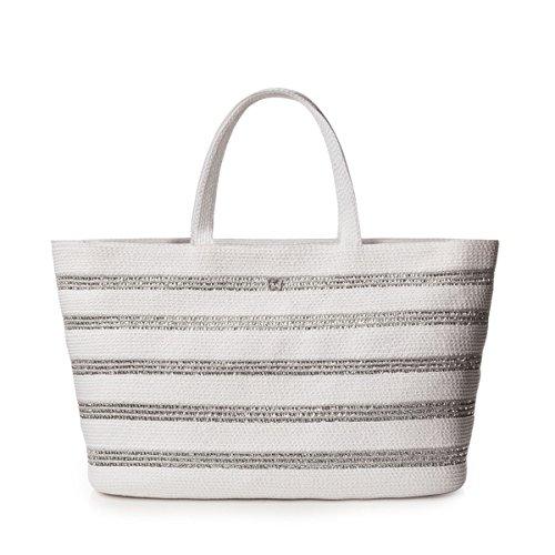 Eric Javits Designer Women's Handbag Sinclair Tote Bag (White/Silver)