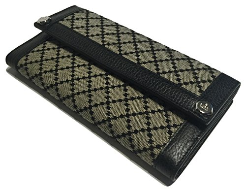 Gucci 231839 Diamante Dollar Calf Beige Nero Leather Continental Wallet Clutch