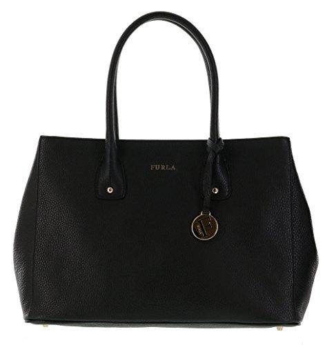 Furla Serena Pebbled Leather Satchel Handbag Purse in Onyx (001)