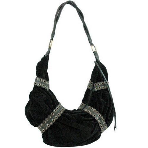 Dasein Faux Suede Hobo Bag -Black