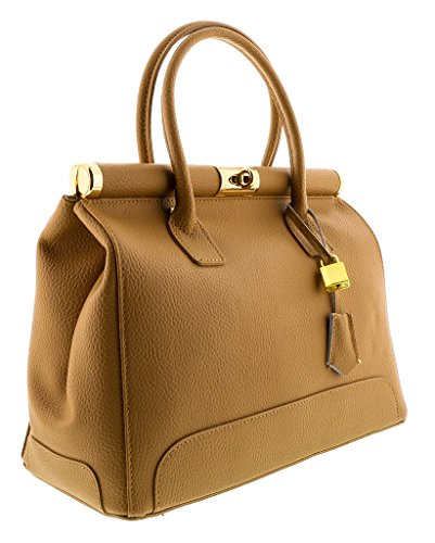 HS8005 NO MINERVA Caramel Leather Satchel/Shoulder Bag