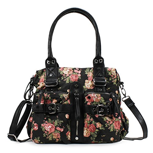Scarleton Multi Pocket Floral Satchel H1761