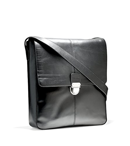 COLE HAAN Smooth LEATHER Collection Reporter Bag BLACK MESSENGER $300