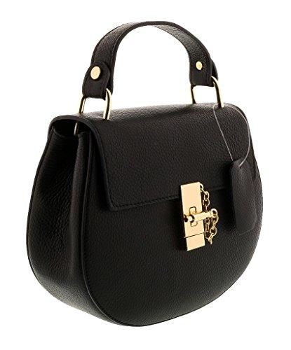 HS1151 NR CIRCE Black Leather Top Handle/Shoulder Bag