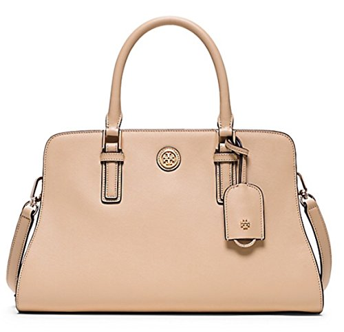Tory Burch Robinson Color-block Curved Satchel Toasted/ Wheat French Gray $550.00