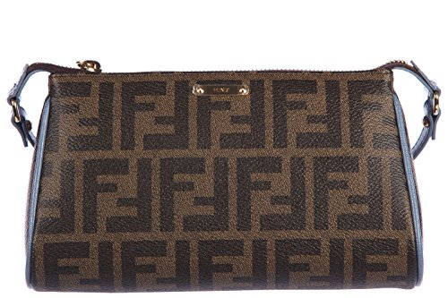 Fendi women's clutch handbag purse with shoulder strap original mini pouch zucca elite brown