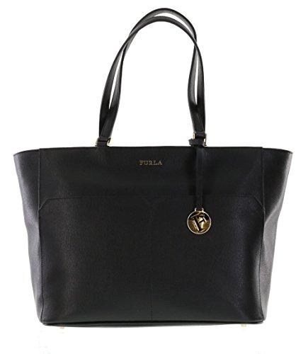 Furla Musa Leather Shoulder Handbag Tote Purse in Onyx (001)