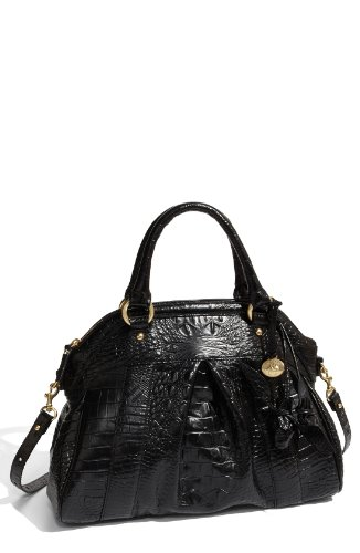 Brahmin Louise Rose Satchel Handbag Croc Embossed Leather Black