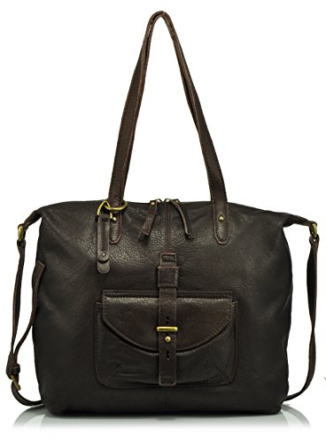 Lucky Brand Medine Leather Tote Bag, Espresso, One Size