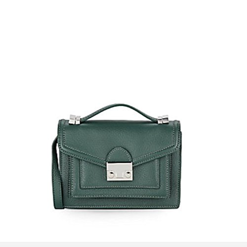 Loeffler Randall Mini Rider Pebbled Leather Satchel, Forest