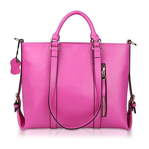 Kattee Urban Style 3-Way Women's Genuine Leather Shoulder Tote Bag (Rose)