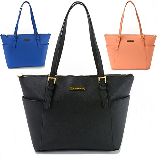 Alpine Swiss Women's Ebro Saffiano Tote Bag Shoulder Purse Handbag