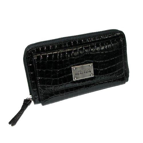 Kenneth Cole Reaction Black Patent Croc Urban Organizer Wallet