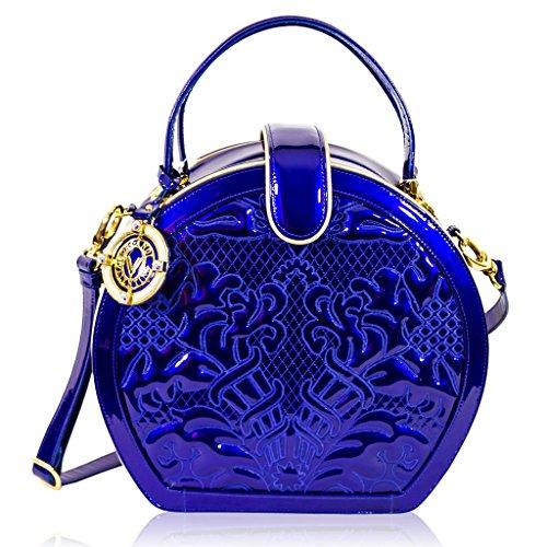Valentino Orlandi Italian Designer Blue Embroidered Leather Purse Hard Box Bag