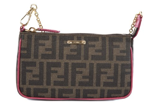 Fendi women's leather clutch handbag bag purse zucca fucsia