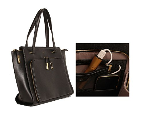 Tutilo Tech Wing Tote Designer Handbag with Built in Battery Charger