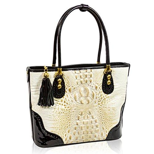 Marino Orlandi Italian Designer Golden Beige Alligator Leather Purse Tote Bag