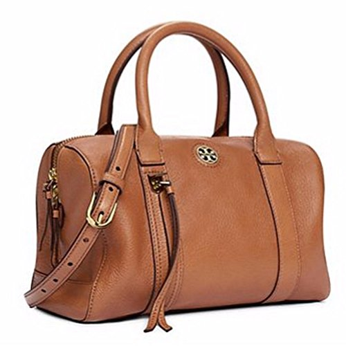 TORY BURCH LEATHER BRODY SMALL SATCHEL IN BARK