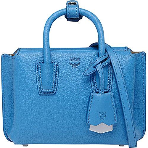 2016 SS MCM Authentic MILLA X-Mini Tote Bag – Tile Blue MWT6SMA24LW