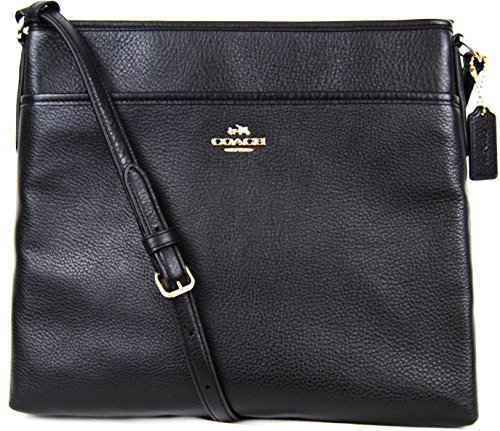 COACH Pebble Leather File Bag Crossbody Black Leather 37321