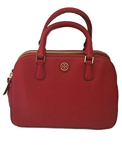 Tory Burch Robinson Pebbled Leather Double Zip Satchel Bag