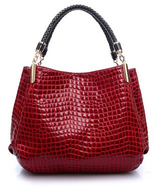ilishop Women's New Fashion Classy Unique Crocodile Handbag Shoulder Bag For Women (Red)