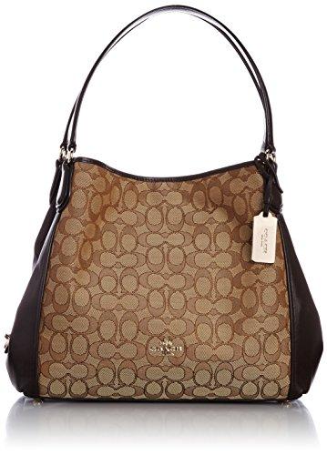 Coach Edie Signature Jacquard Shoulder Bag – Light Gold/Khaki Brown